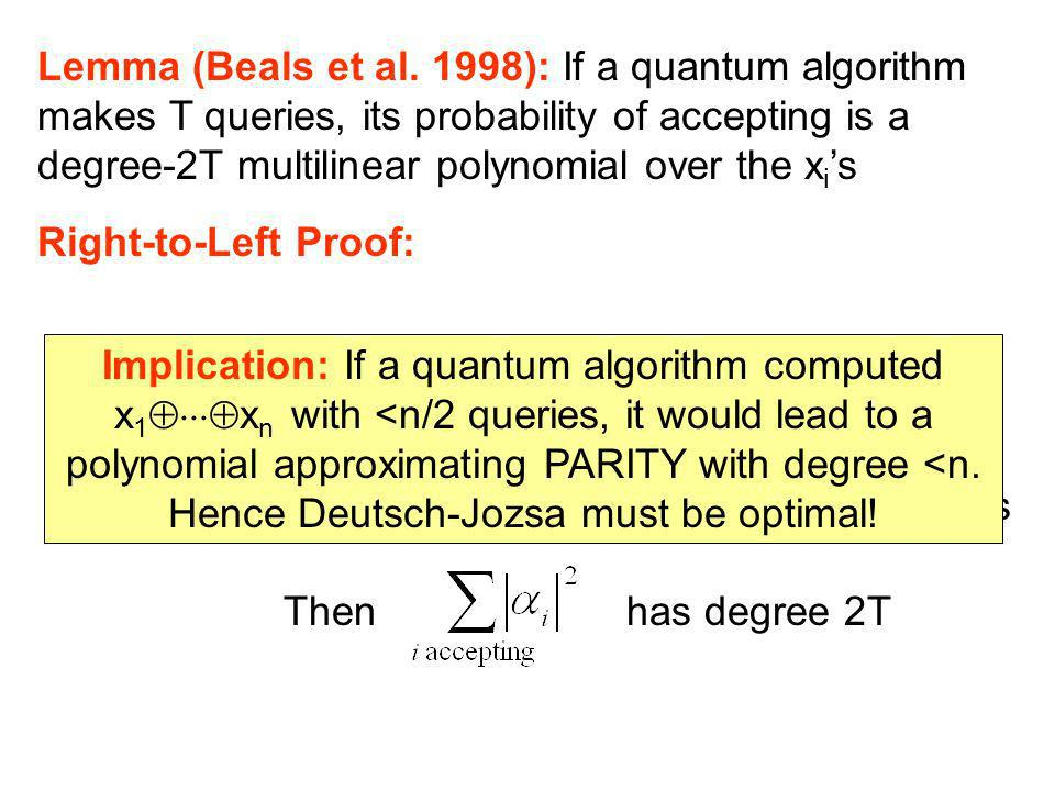 Lemma (Beals et al. 1998): If a quantum algorithm makes T queries, its probability of accepting is a degree-2T multilinear polynomial over the x i s R