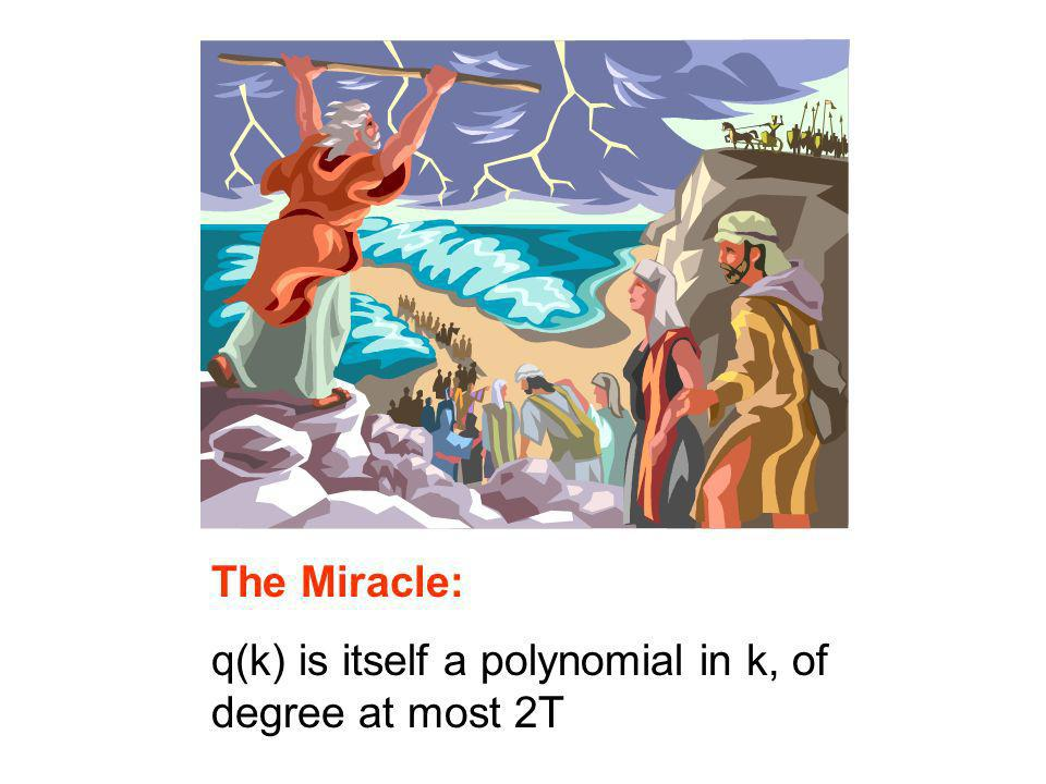 The Miracle: q(k) is itself a polynomial in k, of degree at most 2T