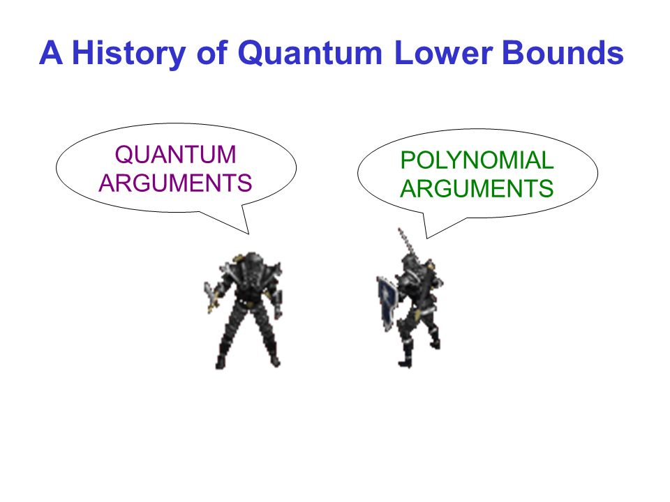 QUANTUM ARGUMENTS POLYNOMIAL ARGUMENTS A History of Quantum Lower Bounds