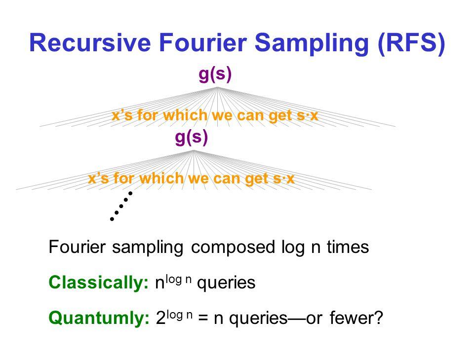 Recursive Fourier Sampling (RFS) g(s) xs for which we can get s·x g(s) xs for which we can get s·x Fourier sampling composed log n times Classically: