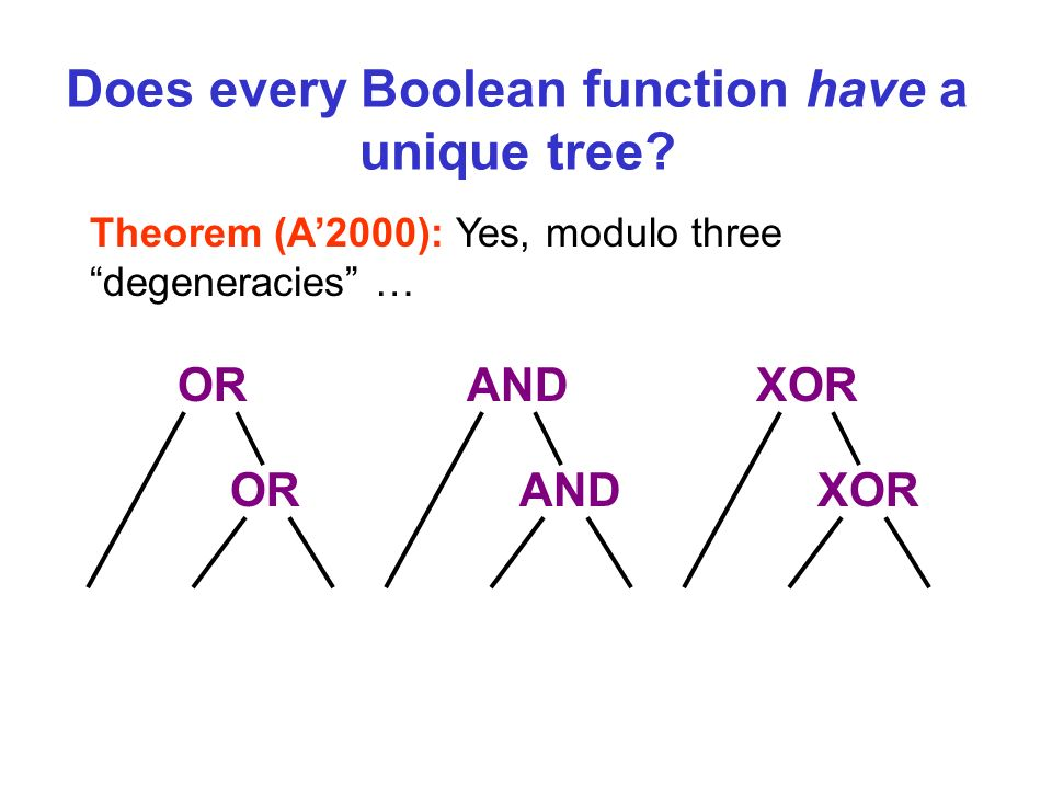 Theorem (A2000): Yes, modulo three degeneracies … OR AND XOR Does every Boolean function have a unique tree