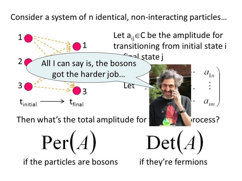 Consider a system of n identical, non-interacting particles… 1 2 3 1 2 3 Let a ij C be the amplitude for transitioning from initial state i to final s