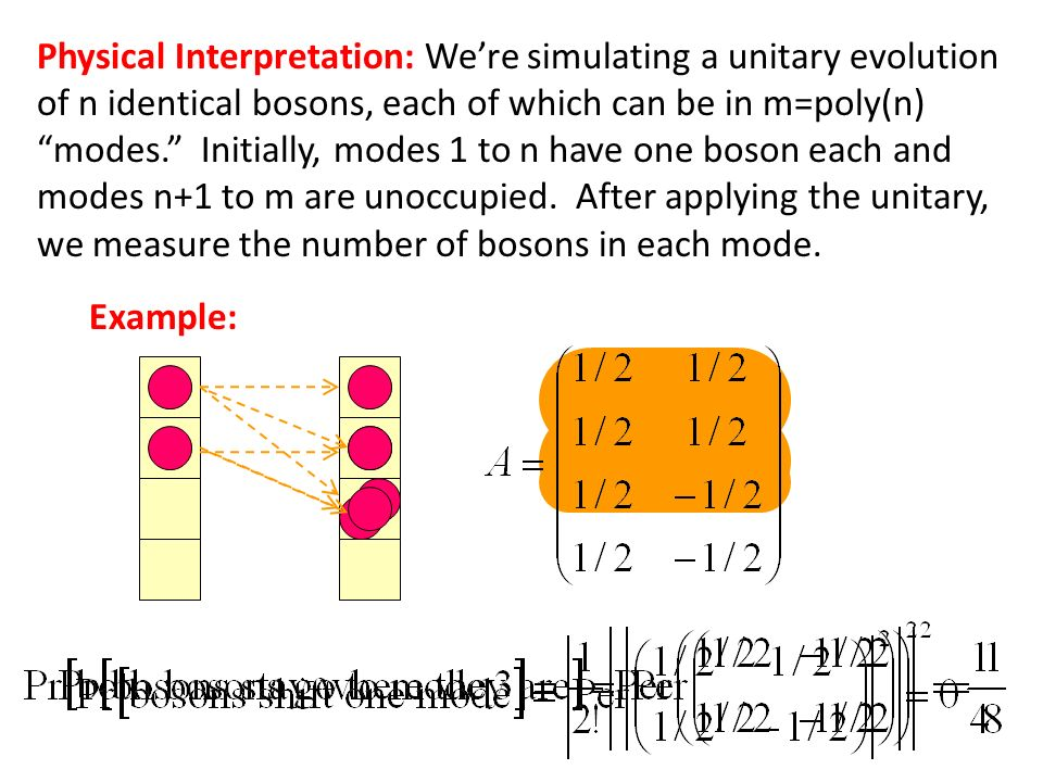 Physical Interpretation: Were simulating a unitary evolution of n identical bosons, each of which can be in m=poly(n) modes. Initially, modes 1 to n h