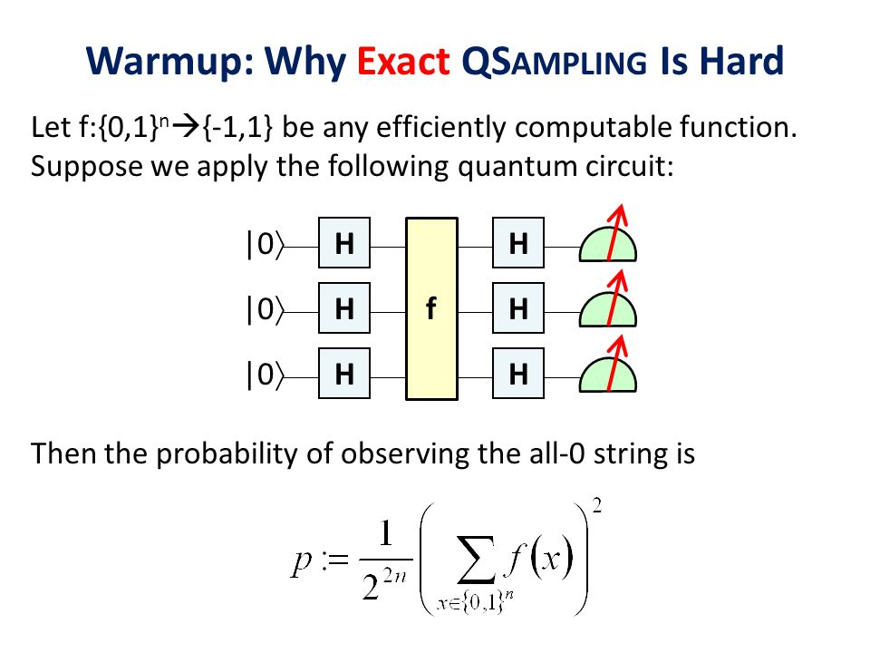 Warmup: Why Exact QS AMPLING Is Hard Let f:{0,1} n {-1,1} be any efficiently computable function. Suppose we apply the following quantum circuit: H H