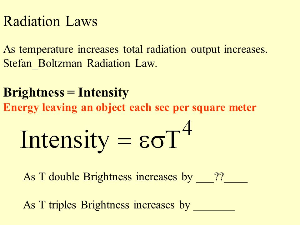 Radiation Laws As temperature increases total radiation output increases. Stefan_Boltzman Radiation Law. Brightness = Intensity Energy leaving an obje