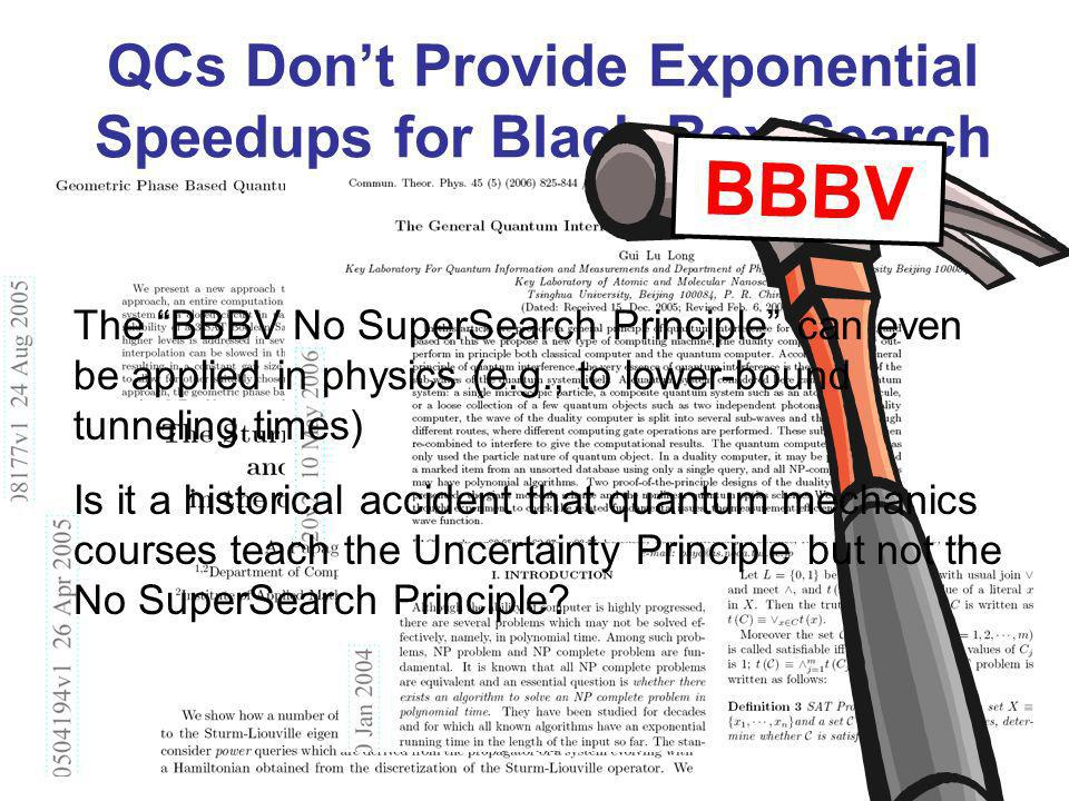 QCs Dont Provide Exponential Speedups for Black-Box Search BBBV The BBBV No SuperSearch Principle can even be applied in physics (e.g., to lower-bound