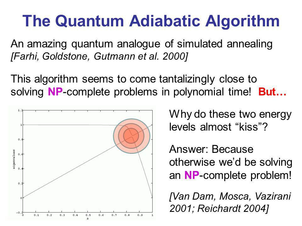 The Quantum Adiabatic Algorithm Why do these two energy levels almost kiss? An amazing quantum analogue of simulated annealing [Farhi, Goldstone, Gutm