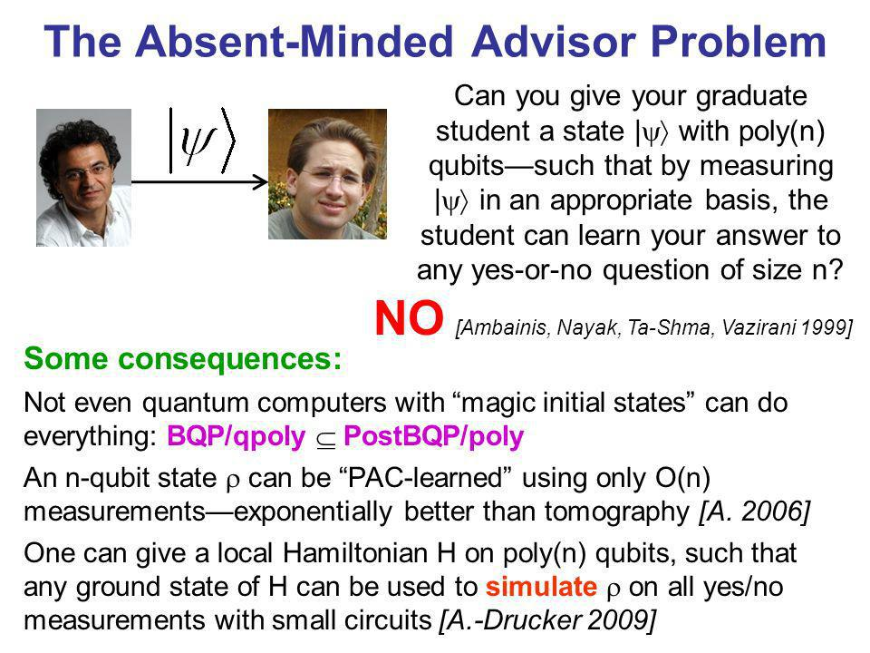 The Absent-Minded Advisor Problem Some consequences: Not even quantum computers with magic initial states can do everything: BQP/qpoly PostBQP/poly An