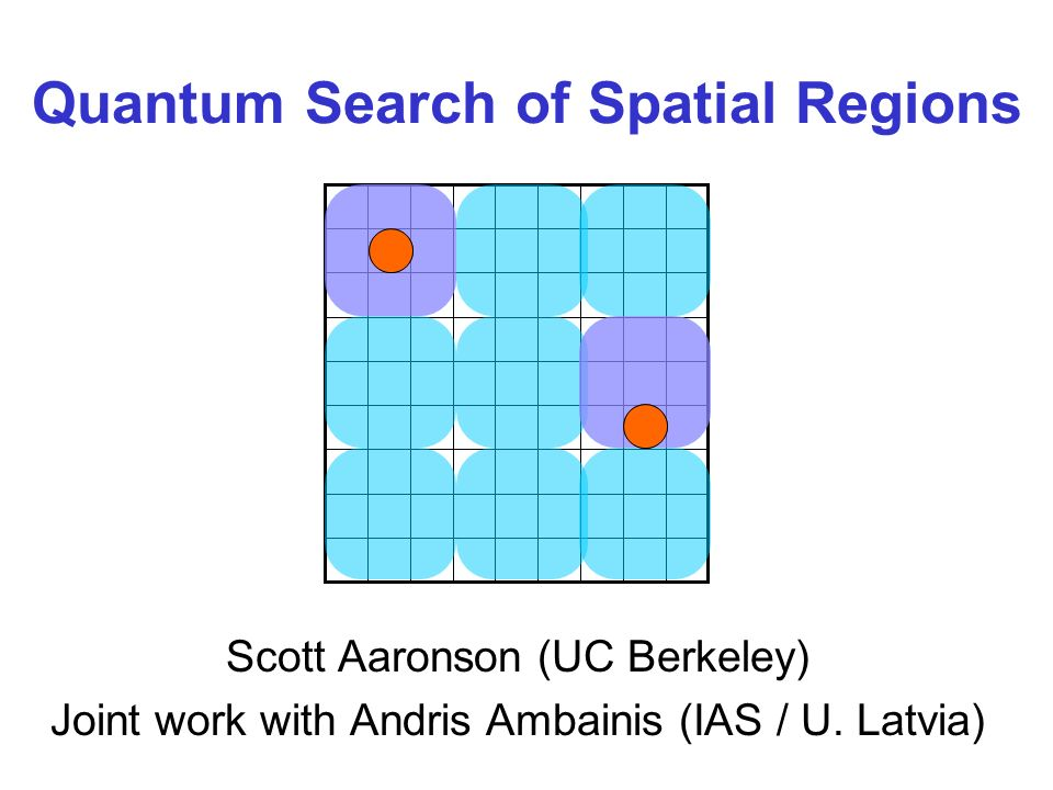 Quantum Search of Spatial Regions Scott Aaronson (UC Berkeley) Joint work with Andris Ambainis (IAS / U.