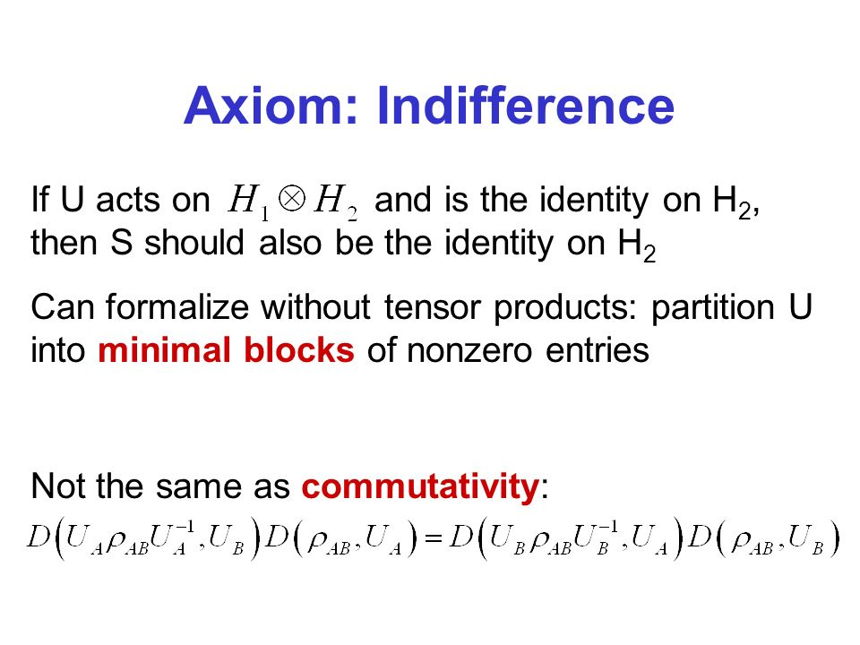 Axiom: Indifference If U acts onand is the identity on H 2, then S should also be the identity on H 2 Can formalize without tensor products: partition U into minimal blocks of nonzero entries Not the same as commutativity: