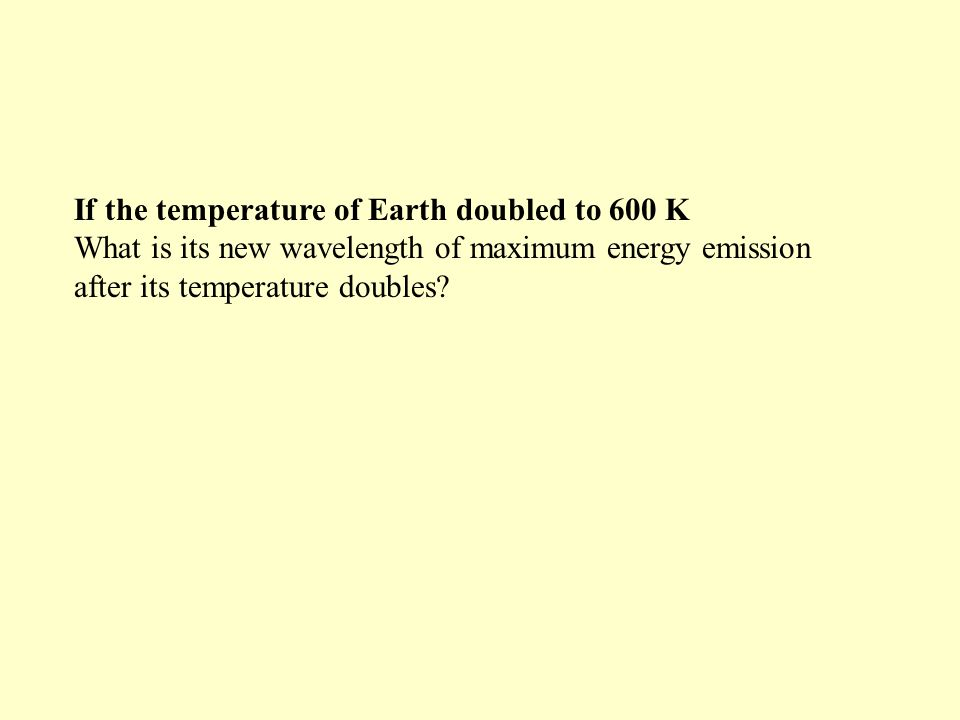 If the temperature of Earth doubled to 600 K What is its new wavelength of maximum energy emission after its temperature doubles.