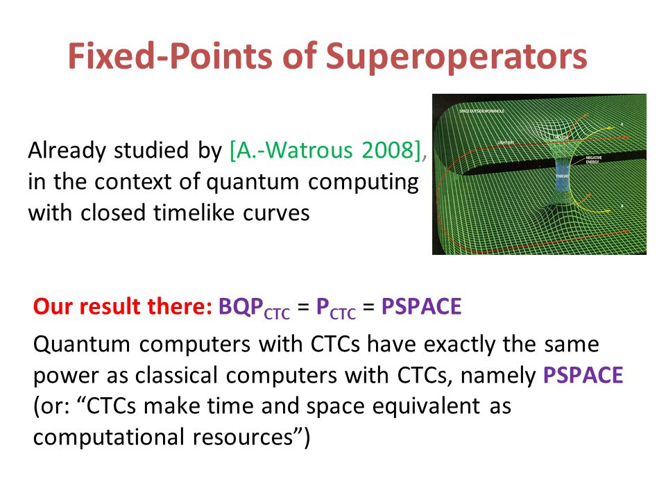 Fixed-Points of Superoperators Already studied by [A.-Watrous 2008], in the context of quantum computing with closed timelike curves 0.000000000000000110101111101 Our result there: BQP CTC = P CTC = PSPACE Quantum computers with CTCs have exactly the same power as classical computers with CTCs, namely PSPACE (or: CTCs make time and space equivalent as computational resources)