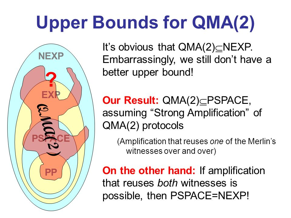 Upper Bounds for QMA(2) Its obvious that QMA(2) NEXP. Embarrassingly, we still dont have a better upper bound! On the other hand: If amplification tha