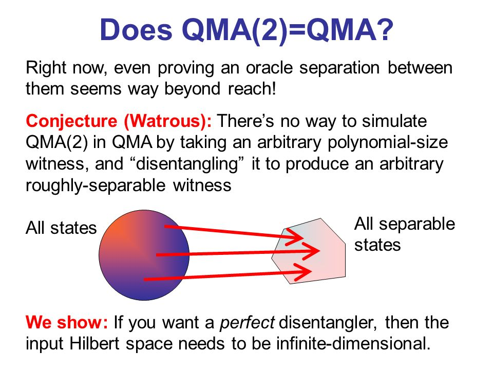 Does QMA(2)=QMA? Right now, even proving an oracle separation between them seems way beyond reach! We show: If you want a perfect disentangler, then t
