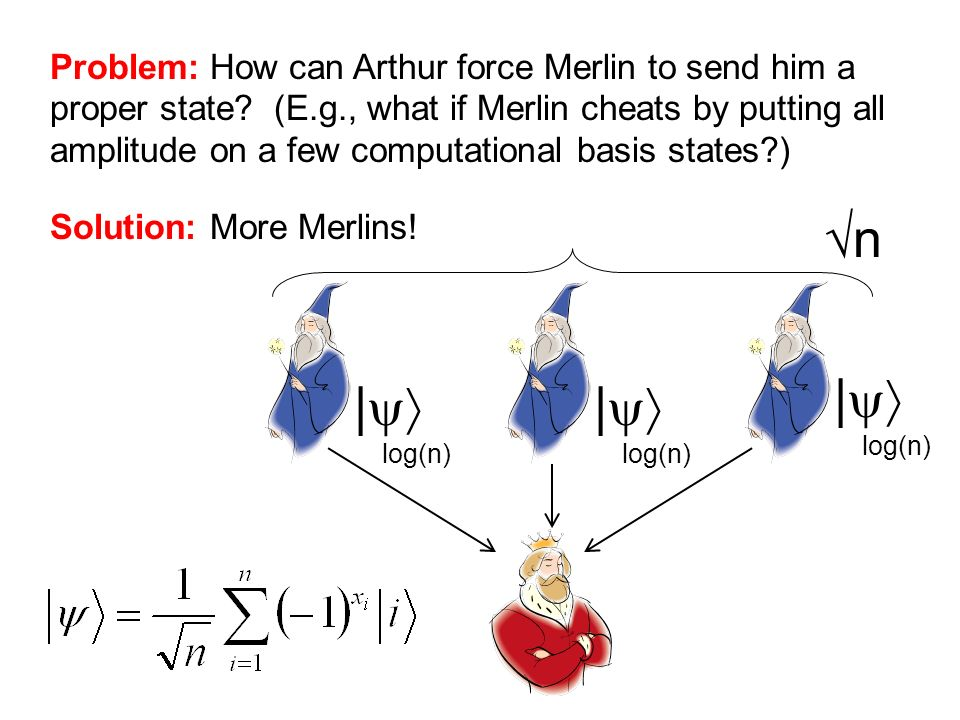 Problem: How can Arthur force Merlin to send him a proper state? (E.g., what if Merlin cheats by putting all amplitude on a few computational basis st