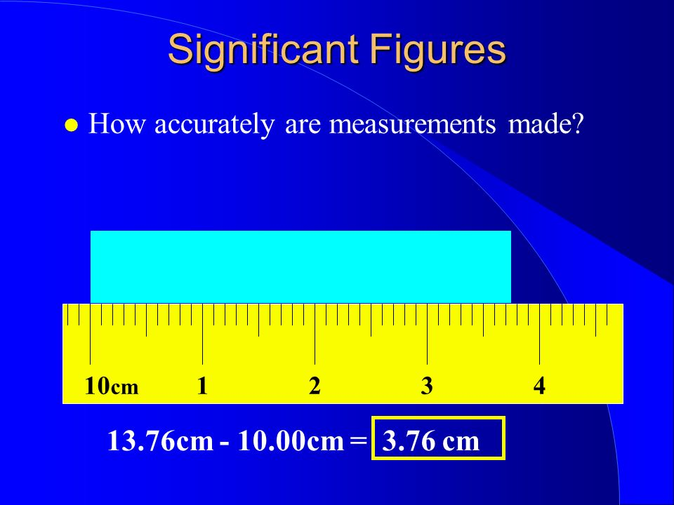 How accurately are measurements made 10 cm 1324 13.76cm - 10.00cm = 3.76 cm