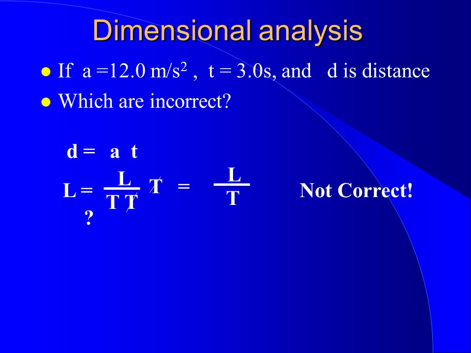 Dimensional analysis If a =12.0 m/s 2, t = 3.0s, and d is distance Which are incorrect.