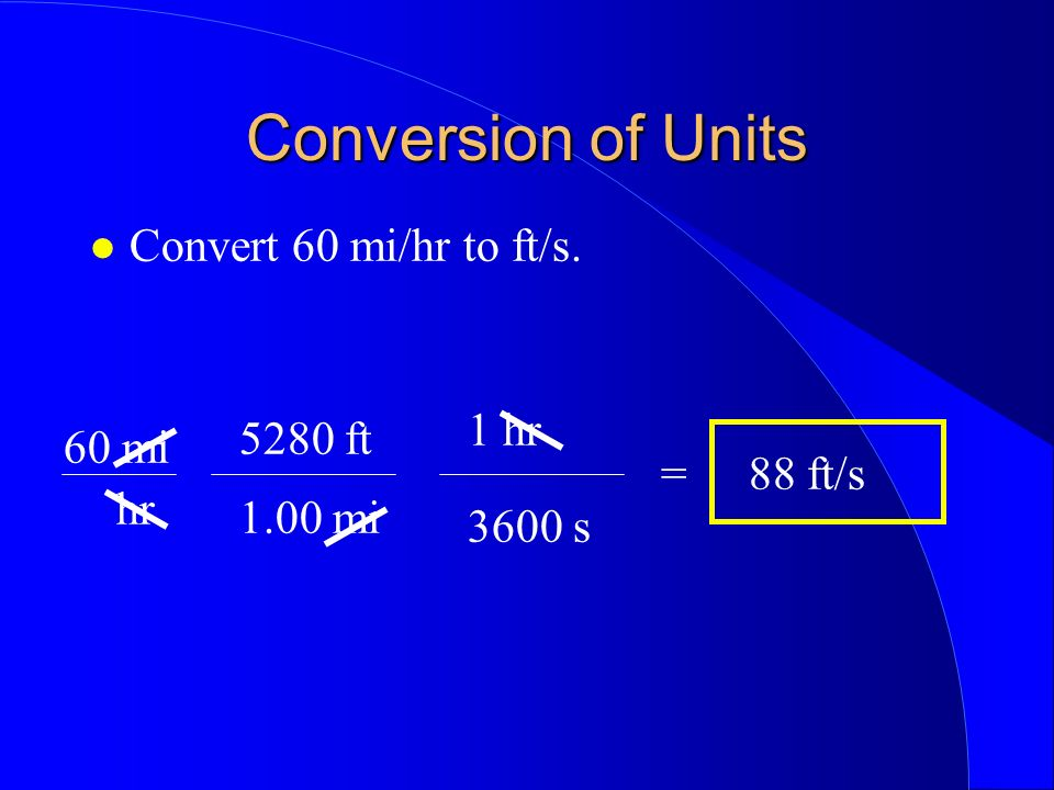 Conversion of Units Convert 60 mi/hr to ft/s. 60 mi hr 5280 ft 1 hr 3600 s 1.00 mi =88 ft/s
