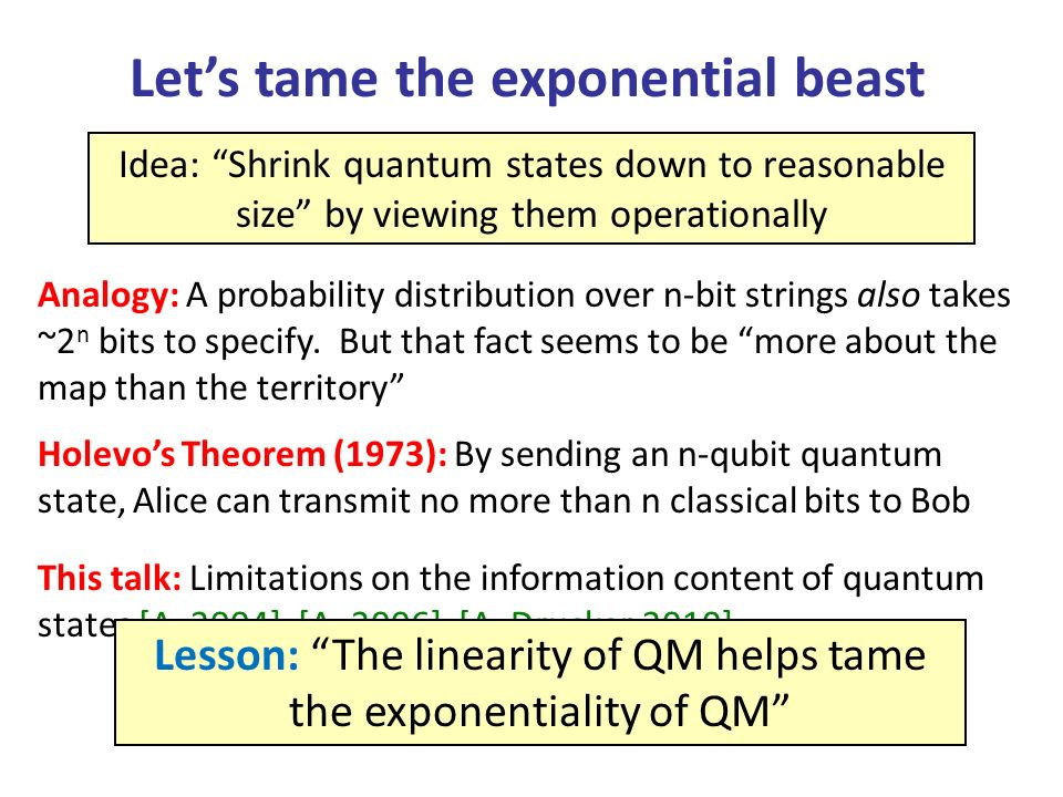 Summary In many natural scenarios, the exponentiality of quantum states is an illusion That is, theres a short (though possibly cryptic) classical string that specifies how the quantum state behaves, on any measurement you could actually perform Applications: Pretty-good quantum state tomography, characterization of quantum computers with magic initial states… Biggest open problem: Find special classes of quantum states that can be learned in a computationally efficient way [Aaronson-Gottesman, in preparation] Learnability of stabilizer states