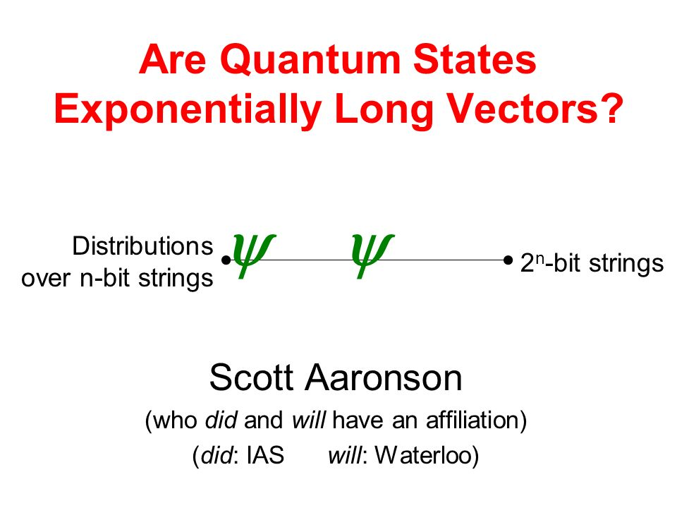 Are Quantum States Exponentially Long Vectors.