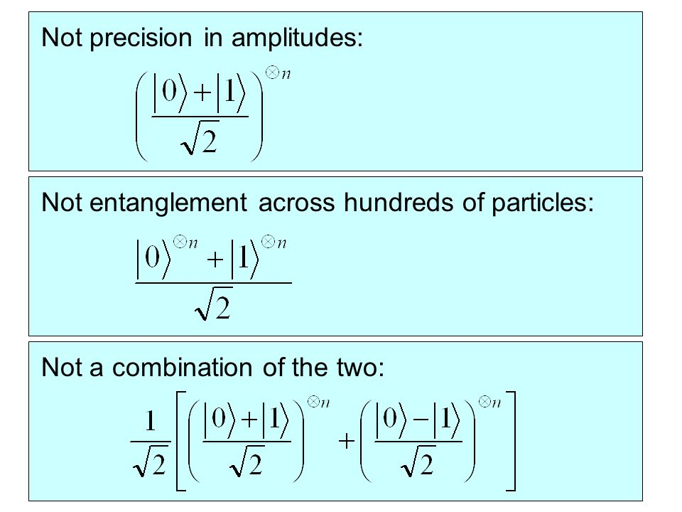 Not precision in amplitudes:Not entanglement across hundreds of particles:Not a combination of the two: