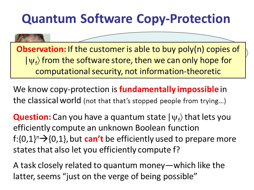 This paper initiates the study of quantum money and quantum copy-protection from the standpoint of modern theoretical computer science.