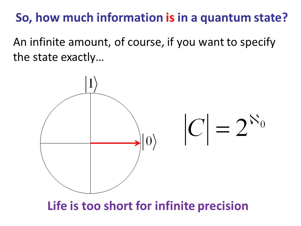 An infinite amount, of course, if you want to specify the state exactly… Life is too short for infinite precision So, how much information is in a qua