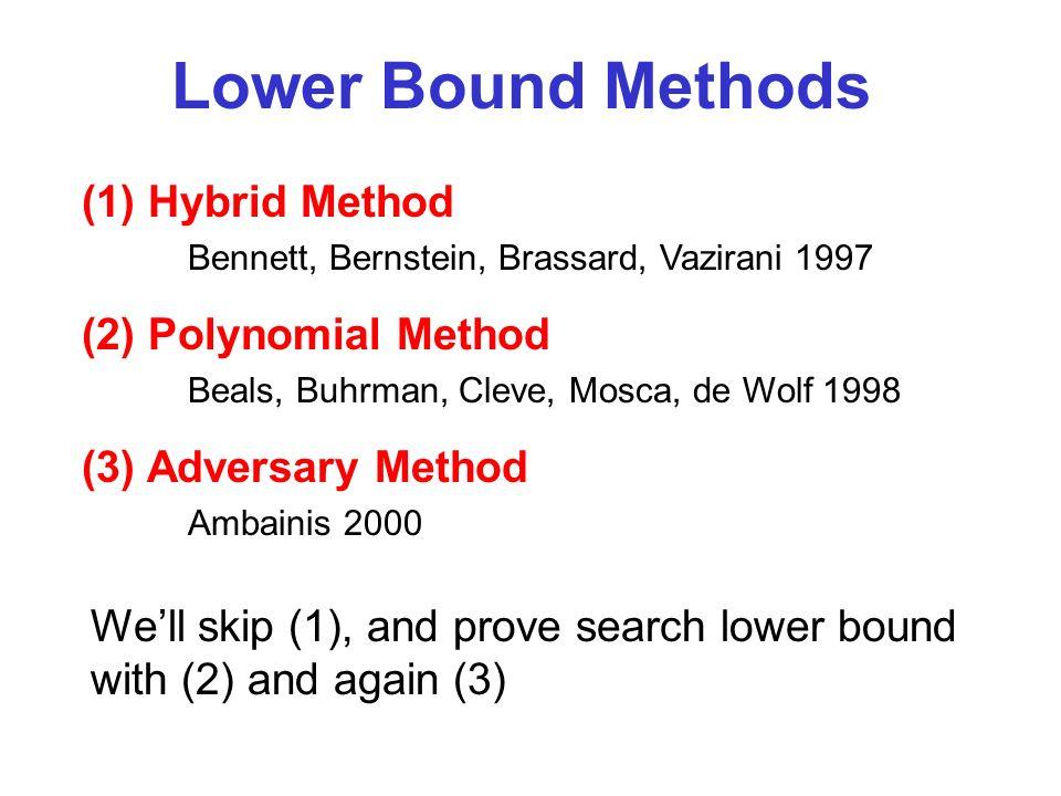 Lower Bound Methods (1) Hybrid Method Bennett, Bernstein, Brassard, Vazirani 1997 (2) Polynomial Method Beals, Buhrman, Cleve, Mosca, de Wolf 1998 (3)