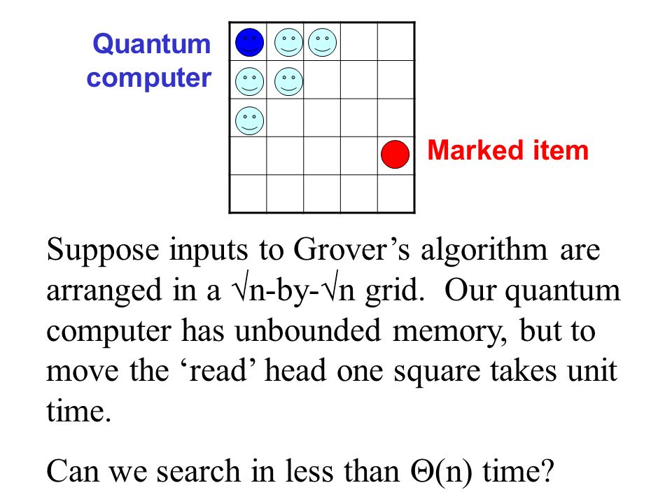 Suppose inputs to Grovers algorithm are arranged in a n-by- n grid. Our quantum computer has unbounded memory, but to move the read head one square ta