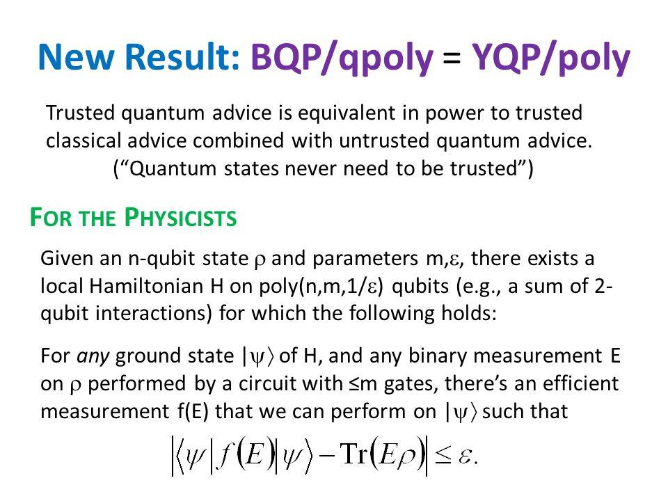 Quantum Karp-Lipton Theorem Our quantum analogue: If NP BQP/qpoly, then coNP NP QMA PromiseQMA.