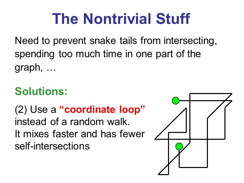 The Nontrivial Stuff Need to prevent snake tails from intersecting, spending too much time in one part of the graph, … (2) Use a coordinate loop instead of a random walk.
