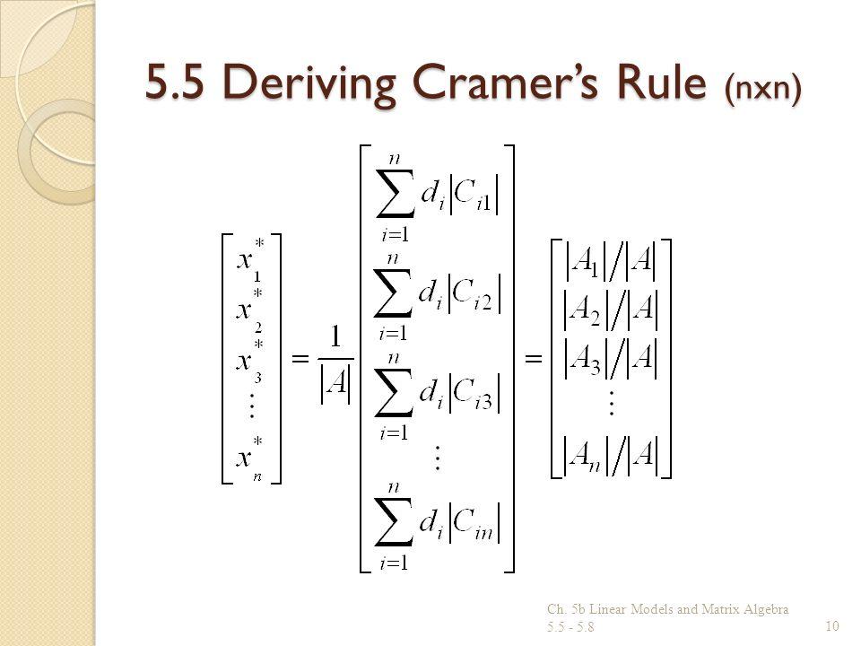 5.5 Deriving Cramers Rule (nxn) Ch. 5b Linear Models and Matrix Algebra 5.5 - 5.810