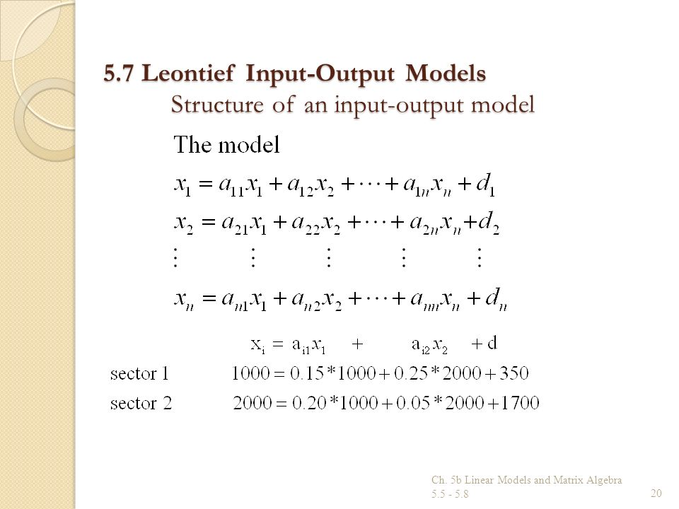 5.7 Leontief Input-Output Models Structure of an input-output model Ch. 5b Linear Models and Matrix Algebra 5.5 - 5.820