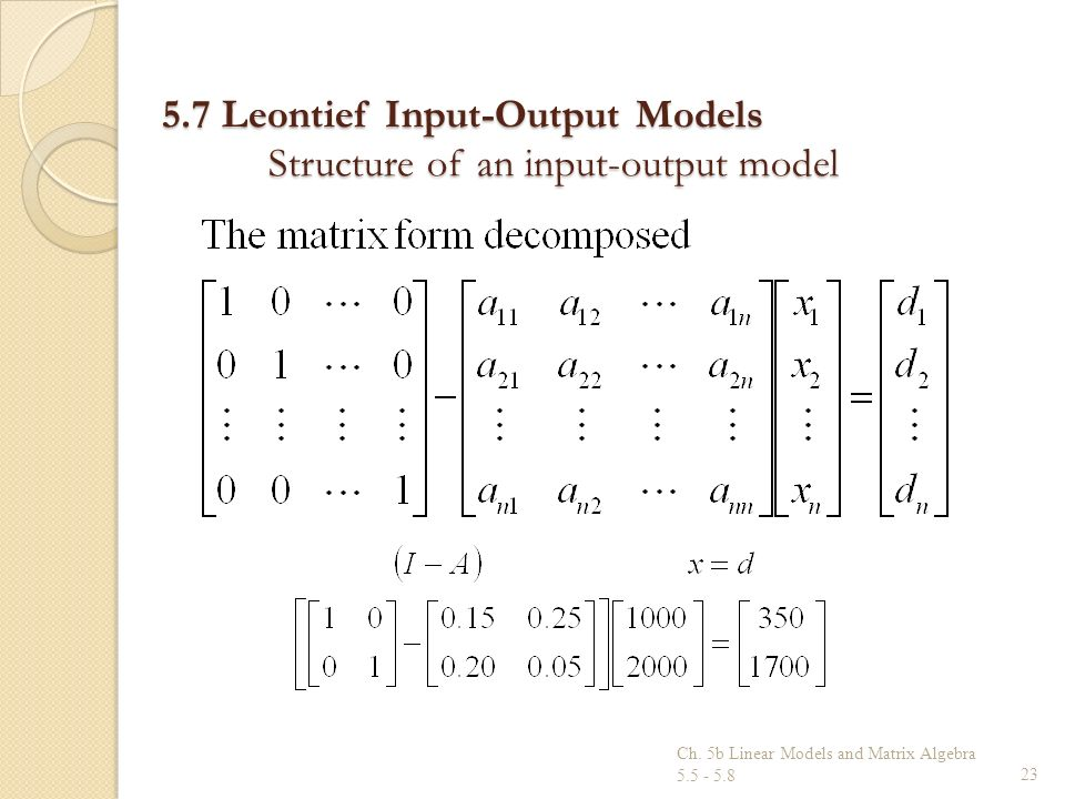 5.7 Leontief Input-Output Models Structure of an input-output model Ch. 5b Linear Models and Matrix Algebra 5.5 - 5.823