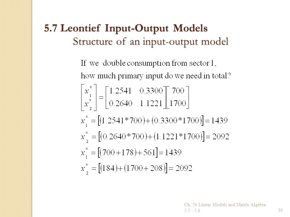 Ch. 5b Linear Models and Matrix Algebra 5.5 - 5.830 5.7 Leontief Input-Output Models Structure of an input-output model