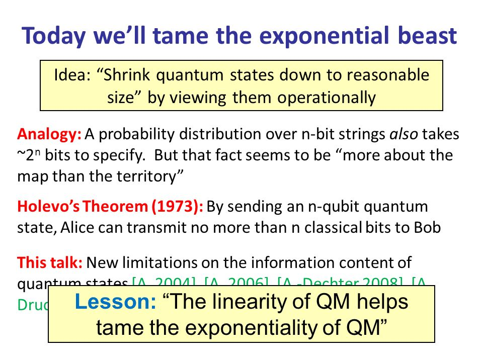 Today well tame the exponential beast Idea: Shrink quantum states down to reasonable size by viewing them operationally Analogy: A probability distribution over n-bit strings also takes ~2 n bits to specify.