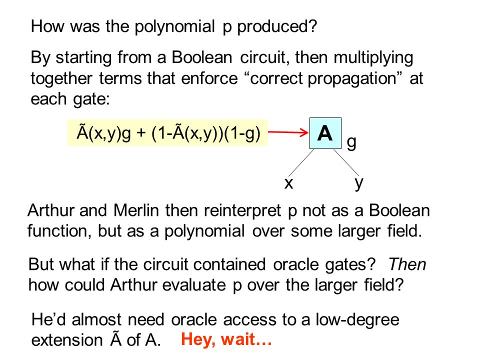 How was the polynomial p produced? By starting from a Boolean circuit, then multiplying together terms that enforce correct propagation at each gate: