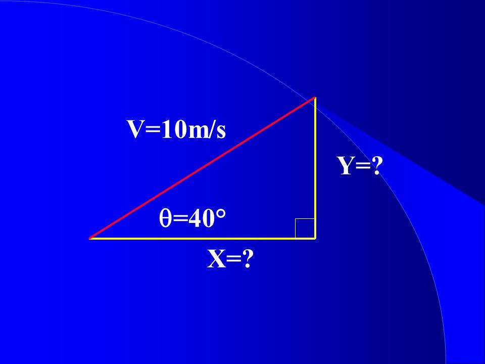Y=? V=10m/s X=? =40°