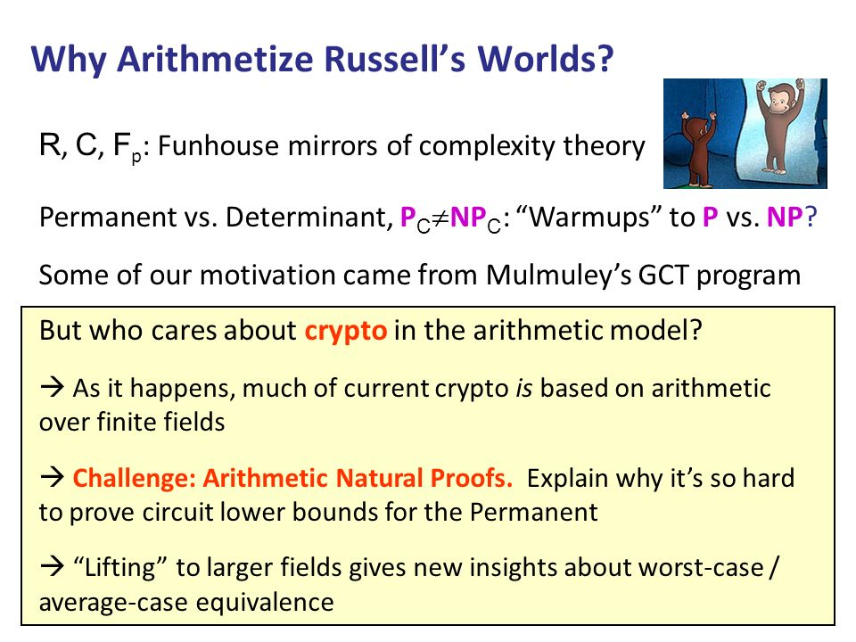 Why Arithmetize Russells Worlds? R, C, F p : Funhouse mirrors of complexity theory Permanent vs. Determinant, P C NP C : Warmups to P vs. NP? Some of