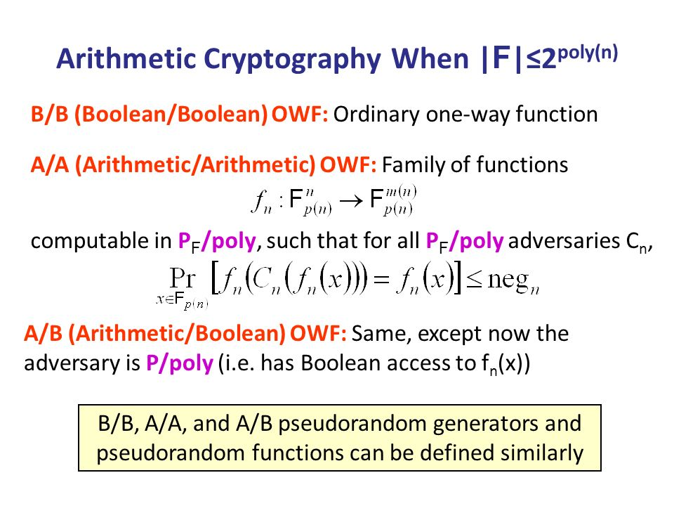 Equivalence Theorem: Assuming   F  2 poly(n), A/B OWFs B/B OWFs A/A OWFs A/B PRGs B/B PRGs A/A PRGs A/B PRFs B/B PRFs A/A PRFs Obvious [HILL][GGM] Obvious This work