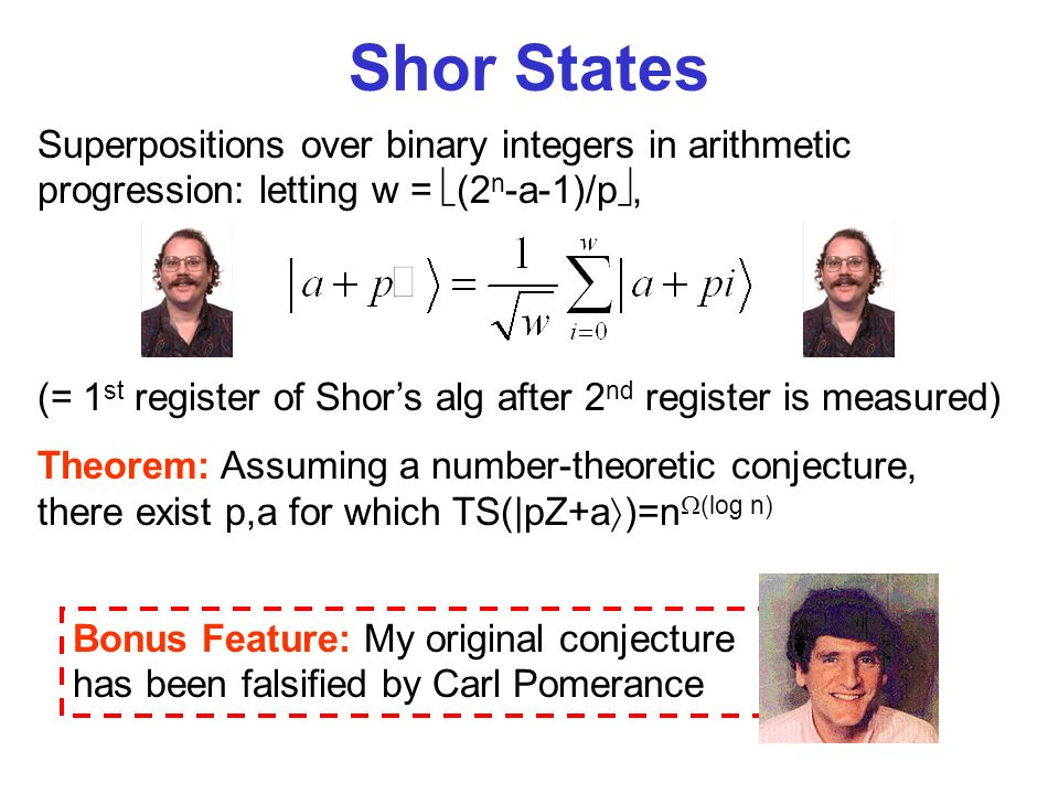 Superpositions over binary integers in arithmetic progression: letting w = (2 n -a-1)/p, (= 1 st register of Shors alg after 2 nd register is measured