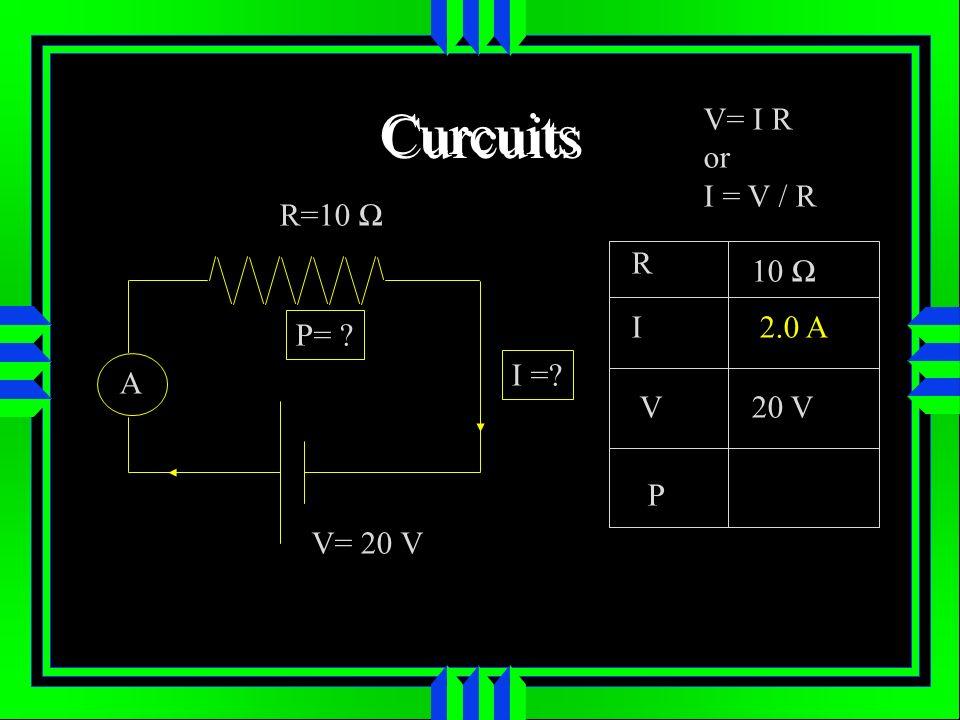 Curcuits R=10 A V= 20 V I =? P= ? R I V P 10 20 V 2.0 A V= I R or I = V / R