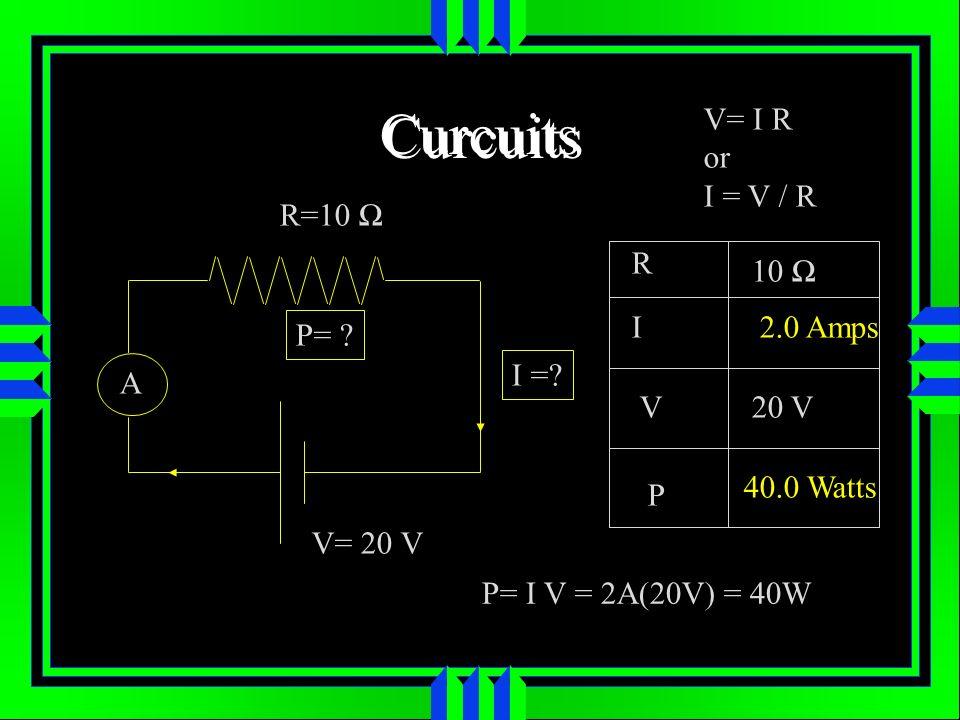 Curcuits R=10 A V= 20 V I =.P= .