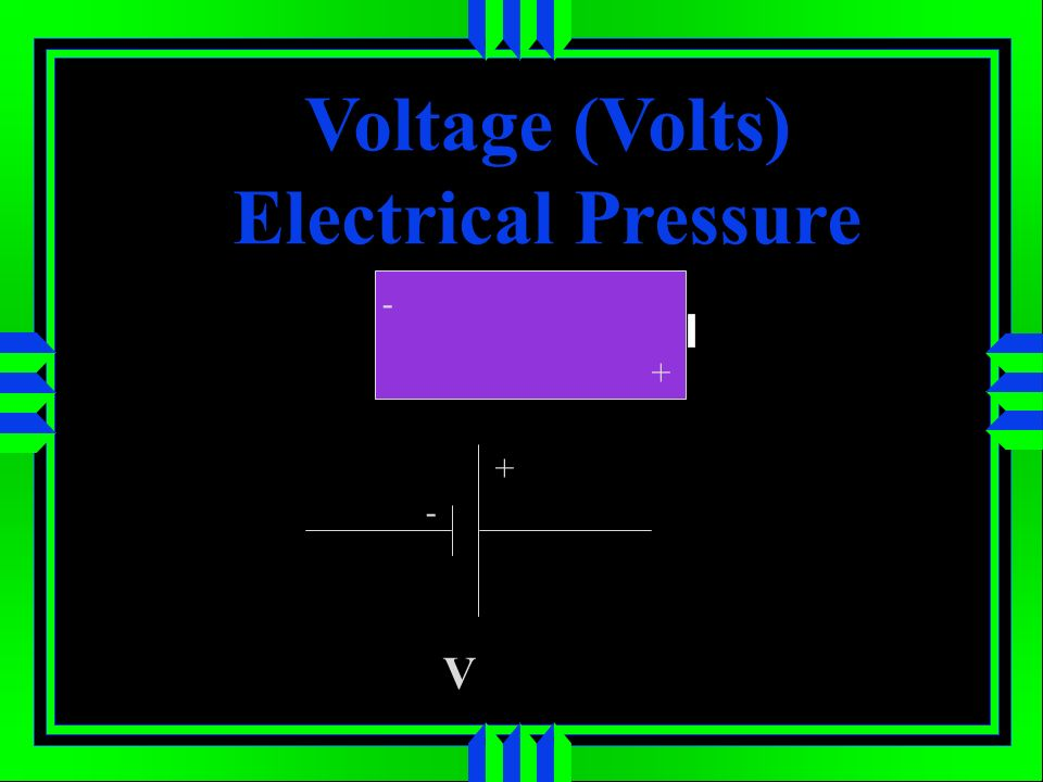 Voltage (Volts) Electrical Pressure + - + - V