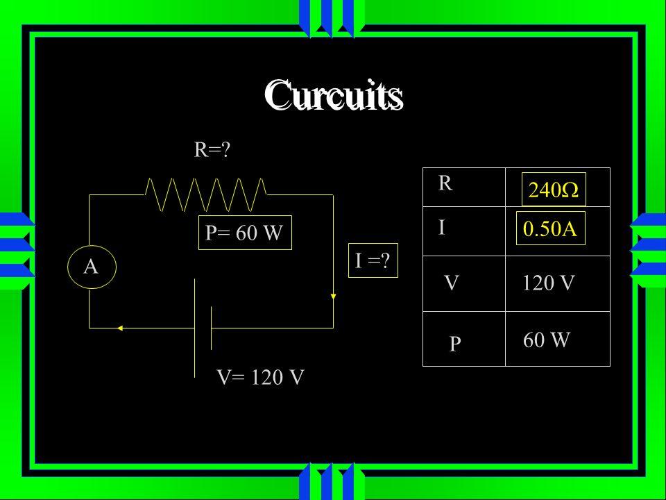 Curcuits R=? A V= 120 V I =? P= 60 W R I V P 120 V 60 W 0.50A 240