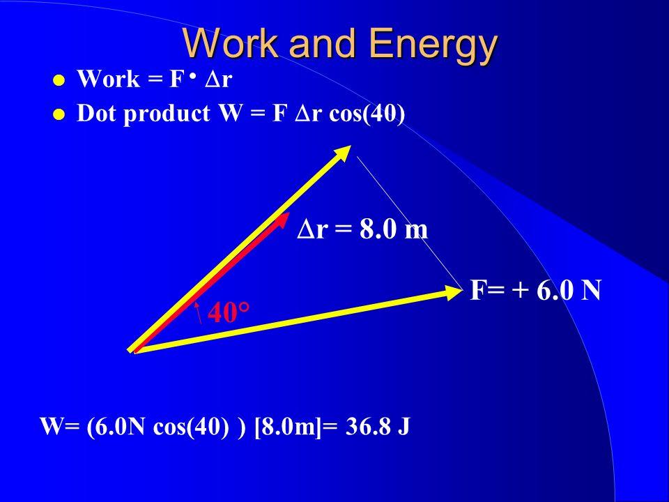 Work and Energy Work = F r Dot product W = F r cos(40) r = 8.0 m F= + 6.0 N 40° W= (6.0N cos(40) ) [8.0m]= 36.8 J