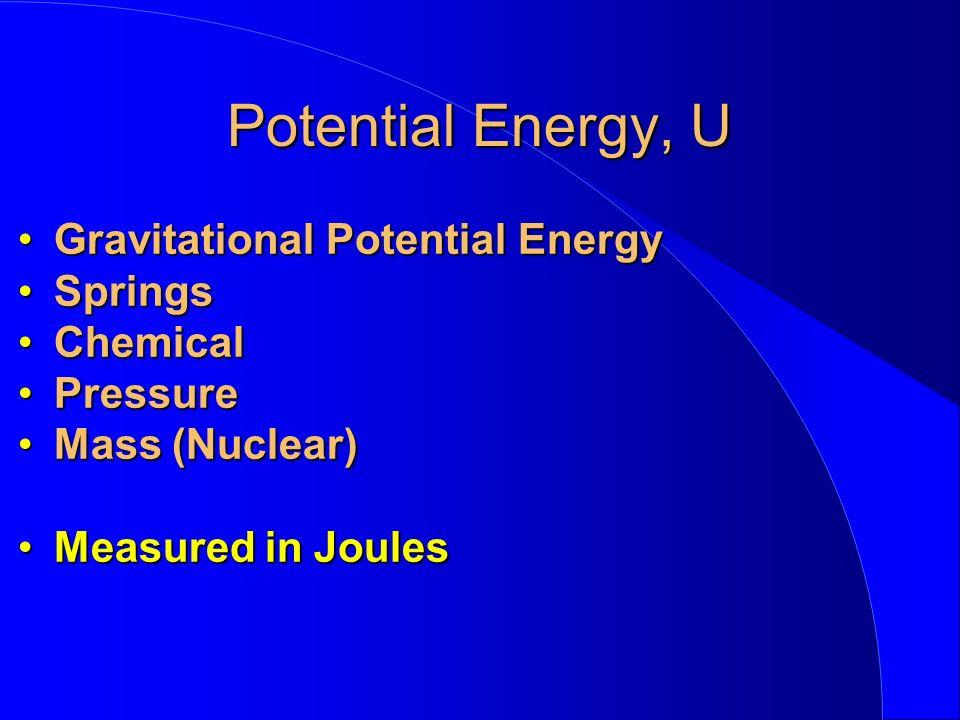 Potential Energy, U Gravitational Potential EnergyGravitational Potential Energy SpringsSprings ChemicalChemical PressurePressure Mass (Nuclear)Mass (