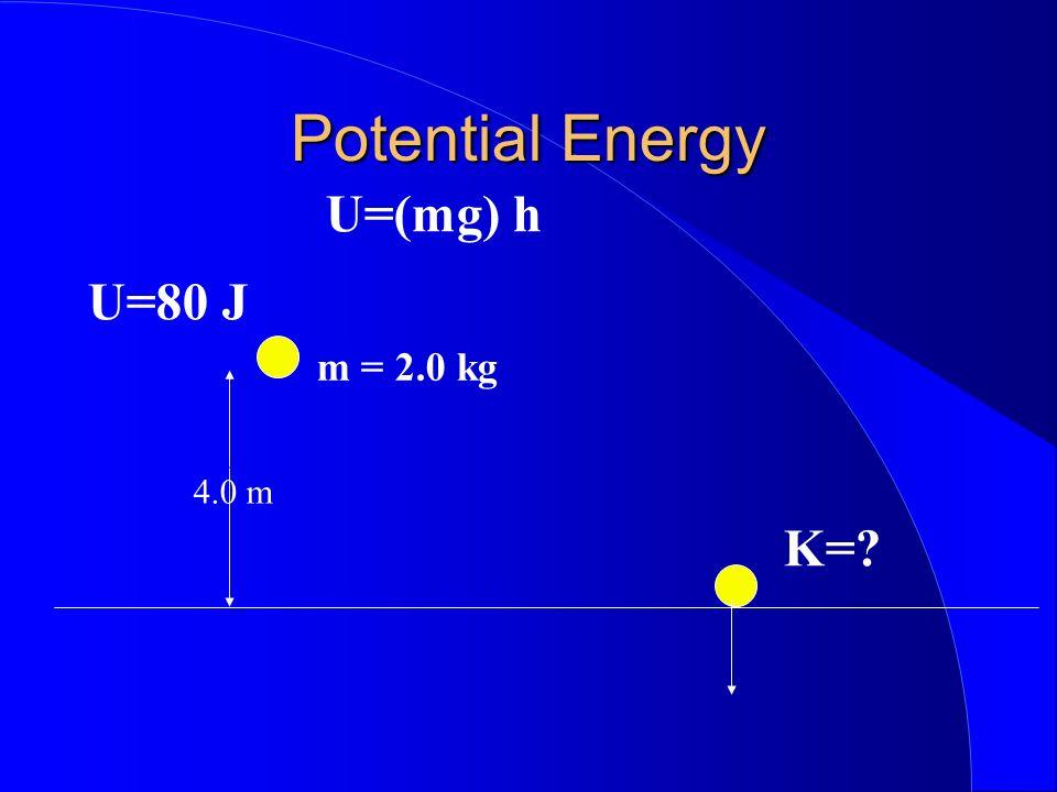 Potential Energy U=(mg) h 4.0 m m = 2.0 kg K=? U=80 J
