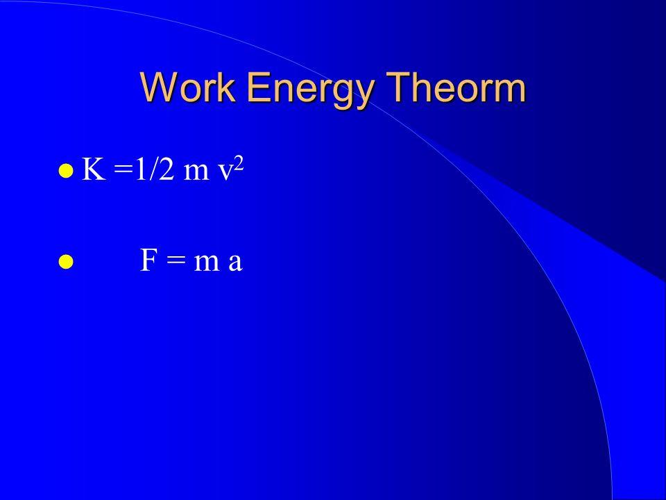 Work Energy Theorm K =1/2 m v 2 F = m a
