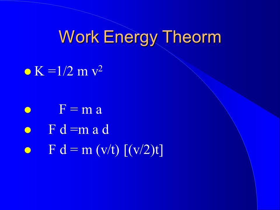 Work Energy Theorm K =1/2 m v 2 F = m a F d =m a d F d = m (v/t) [(v/2)t]